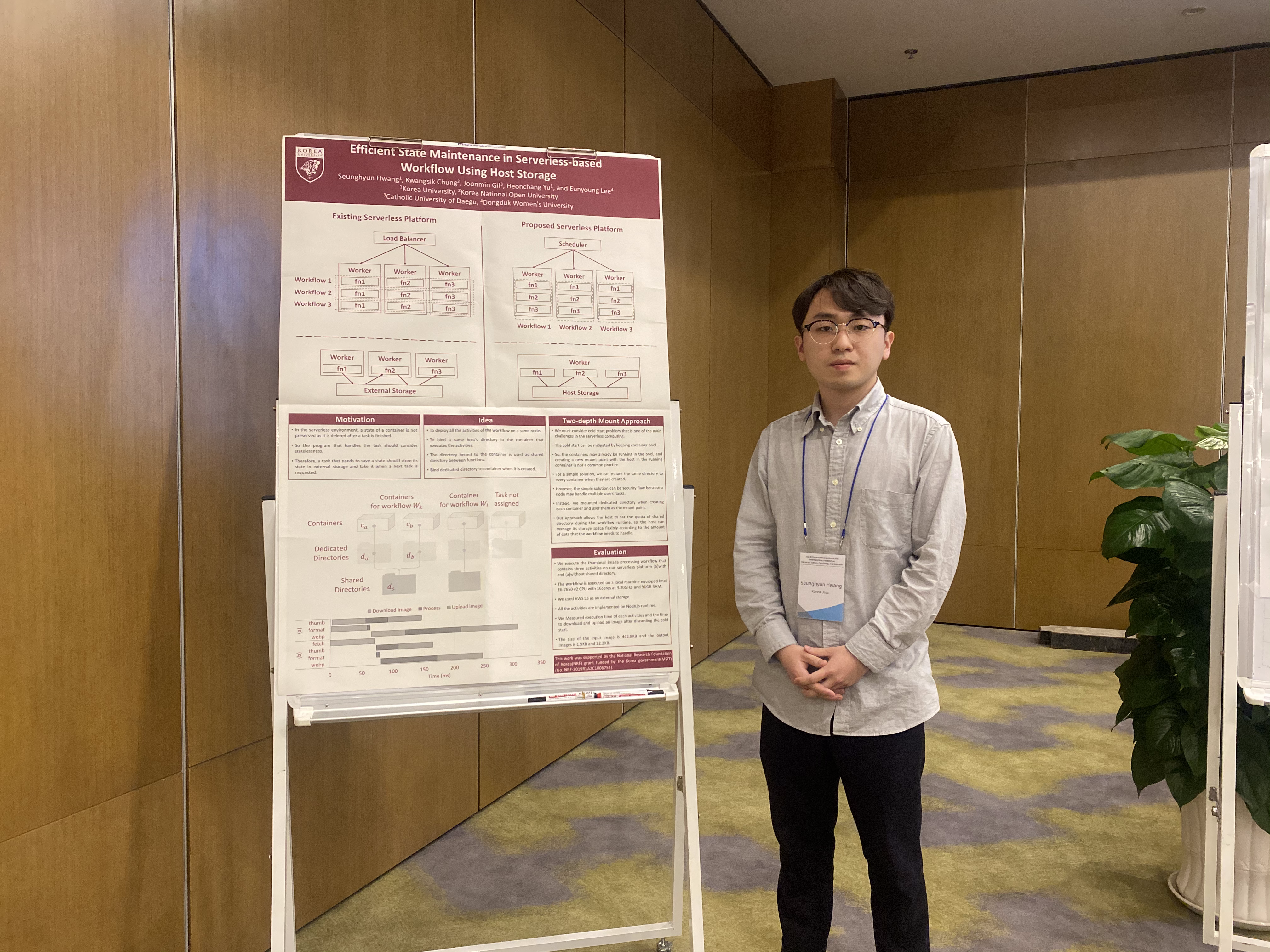 Seunghyun Hwang (M.S. student) poses in front of his poster.